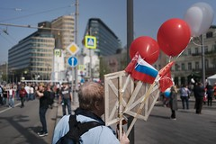 shade... (f_lynx) Tags: may9th sonya9 sonyfe282 flynx moscow russia tverskaya red white march people crowd street 2x3 portrait buildings color shadows lady flag бессмертныйполк