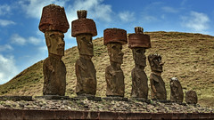 Moai at Anakena, Easter Island (Rapa Nui: Rapa Nui, Spanish: Isla de Pascua) (David D Moore) Tags: easterisland rapanui isladepascua moai ahutongariki ranoraraku anakena ahuakivi theseven birdmancult birdman birdmen orongo ahutahai koteriku tahai vaiure ranokau polynesia chile