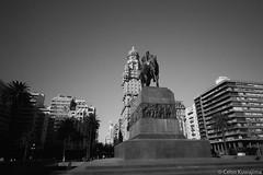 Plaza Independencia, Montevideo (Celso Kuwajima) Tags: epsonv800 silverfastai 20190548 building ilfordpanfplus50 architecture leicasuperangulon13421mm analogphotography outdoor bw leicamp montevideo montevideodepartment uruguay streetphotography statue