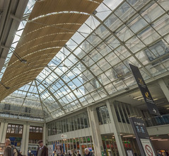 Glare de Lyon (cunningba) Tags: 2014 europe france garedelyon paris panorama skylight sunny trainstation ©2014barrycunningham