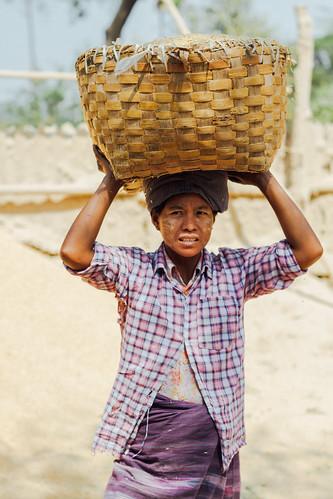 Burmese Farmer Woman with Basket on Head, Myanmar