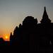 Sun Setting Behind Bagan Temples, Myanmar