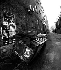 Alley Dumpster (Montreal) (MassiveKontent) Tags: streetphotography montreal bw contrast city monochrome urban blackandwhite streetphoto metropolis montréal quebec canada photography bwphotography streetshot architecture asphalt concrete shadows noiretblanc blancoynegro building lines road alley plateau mileend dumpster bricks wall