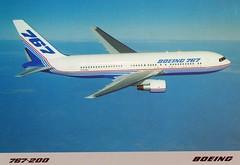 Boeing 767-200 prototype aircraft (postcard) (KristofCs) Tags: boeing 767 767200 b767 n767ba postcard prototype flying maiden flight firstboeing767