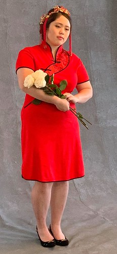 Senior Photo - Chinese standing with flowers