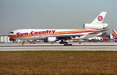 N152SY - Miami (MIA) 21.01.1997 (Jakob_DK) Tags: dc10 dc1015 douglas mcdonnelldouglas mcdonnelldouglasdc10 mcdonnelldouglasdc1015 kmia mia miamiinternationalairport wilcoxfield scx suncountry suncountryairlines 1997 n152sy