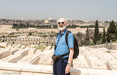 MOUNT OF OLIVES OVERLOOKING OLD CITY WALLS, JERUSALEM_DSC_3647_LR_2.5-2 (Roger Perriss) Tags: 2019 israelviewpoint over old citycity wallstemple mount city citywalls cemetery graves gravestone graveayard backpack camera visitor tourist