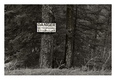 Above Hell's Gate (Robert Drozda) Tags: britishcolumbia canada fraserrivercanyon hellsgate sign transcanadahighway bluff canyon cliff danger forest tree fbxtopdx2018 drozda