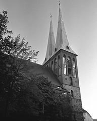 Nikolaikirche 2 (csobie) Tags: bronicasqa 50mmf35s k2 yellowfilter ilford hp5 mediumformat 120 film 6x6 analog scan v600 epson church dusk evening city berlin germany