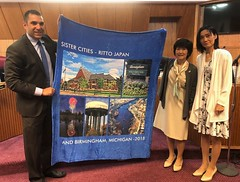 Welcome by Mayor Harris; receiving Ritto visitors (Michigan Shiga sister-states) Tags: ritto birmingham sistercities internationalexchange shigaprefecture michigan