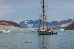 Taxi.....................! (apcmitch) Tags: sailing sea icebergs ice glaciers mountains greenland eastgreenland2014 dolphin dinghy sonya7 seascape