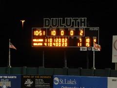 DSCN3907 (mestes76) Tags: 060818 duluth minnesota stadiums wadestadium baseball sports nwl northwoodsleague duluthhuskies scoreboard