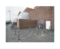 fire exit (chrisinplymouth) Tags: wall brick diagx bollard metal steel cattedown plymouth devon england uk cw69x xg perspective diagonal