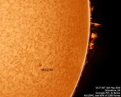 Sun in H-alpha 10:27am BST 16/05/19 (Mary McIntyre FRAS) Tags: suninhalpha sun ar12741 activeregion sunspot prominences
