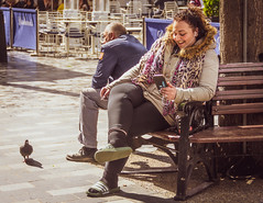 Laughter Line – Explored (DobingDesign) Tags: mobilephone onthephone streetphotography publicrealm streetfurniture bench smile laughter happy londonstreets londonliving cityliving sliders friendship facetime smoking headphones headset smoker laugh laughing