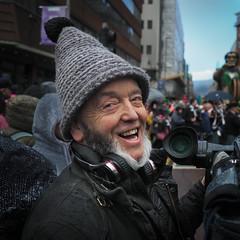St Patrick's Day Belfast 2019 (bruce.marshall2@btinternet.com) Tags: belfast parade st patrick stpatricks day leprechaun portrait beard face smile laugh laughing ireland northernireland man smiling happy cameraman olympus emi