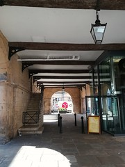 Undercover (daveandlyn1) Tags: shrewsbury thesquare oldmarkethall streetlighting stairs cinemaentrance vehicle ondelivery deliverytruck beams wastepipe stonework pralx1 p8lite2017 2018lite huaweip8 steps aboard