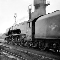 Crewe North, 46228 Duchess of Rutland (Garter Blue) Tags: crewe 5a crewenorth steam pacific lms duchess engineshed film blackwhite bw monochrome 1960s