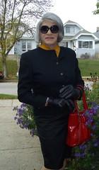 I Mean Business! (Laurette Victoria) Tags: suit gray sunglasses purse gloves woman laurette