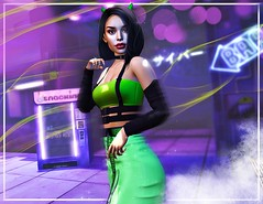 cyber party (UGLLYDUCKLING Resident) Tags: secondlife sl avatar avi girl brunette cyber scifi party dance backdrop neon sign punk fashion style ootd green alien horns machine bar club ultraviolet light smoke move blogger ugllyduckling maitreya genus ks evie mila iconic gaia levelevent beyond smile colors