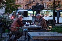 Moody evening in the most atmospheric part of Szczecin - lets play chess! (stettiner.graf) Tags: manuallens chess street genrescene explorer dailylife streetphotography night downtown moodyevening fujixt1 fujifilm photopoland poland polen stettin vorpommern szczecin