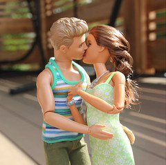 Engagement Smooch (Tee-Ah-Nah) Tags: ring engagement proposal couple ken move made madetomove doll barbie kiss smooch sweet braid pregnant sunshine outdoors