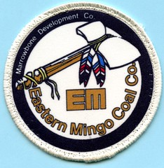 Marrowbone Development Co. Eastern Mingo Coal Co. (Coalminer5) Tags: coalmining coalminer coalmemorabilia coalcollectibles coal mining miningmemorabilia miningcollectible miningartifacts miner sewonpatch patch tomahawk feather indian americanindian