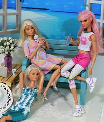 Relaxing with the Fashionistas (Annette29aag) Tags: doll fashion redress barbie fashionista platinumpop daisy toy diorama photography scene annette29aag