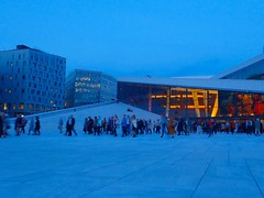 The Opera crowd leaving. Oslo, Norway. (trine.syvertsen) Tags: lovelycity architecture building city thebluehour blue norway operataket opera oslo