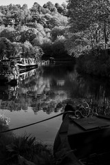 Barges (Adventures with a Camera) Tags: barges blackandwhite nature canal