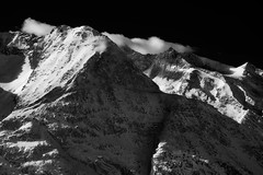 plutonia (Matt_étranger) Tags: mountain black sky dark landscape paesaggio alpi alps wallis valais almagell mischabel cloud shadows light luci ombre contrasts wild wilderness nature monochrome swiss ice snow bianco nero plutone space high summits montagna peak 4000 meters beauty