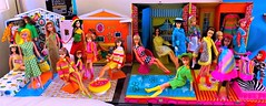 MOD AVENUE (ModBarbieLover) Tags: 1967 barbie skipper chris tutti francie becky doll mod mattel house cases toys fashion dolls psychedelic pink orange green colour magic outfits