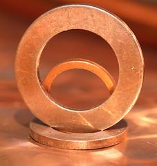 miniature classic automotive copper washers (the.haggishunter) Tags: copper washers rings macro metal macromondays