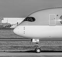 Hum! Hum! (ricardo 31) Tags: aircraft airplane avion aeronautique blagnac noiretblanc spotter spotting toulouse blackandwhite lfbo aeroport airport plane tls monochrome airbus a3501000 qatarairways fwzng a7anh