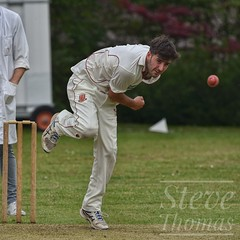 Another thunderbolt goes down. (Explored) (Steve.T.) Tags: cricket cricketer higheastercricketclub bowling cricketball bowlingaction sportphotography sportsphotography actionshot sportsaction nikon d7200 sigma150600 sportphotographer sport