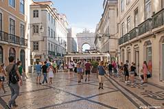 Downtown Lisbon (greg luengen) Tags: summer city stadt lisbon lissabon lisboa portugal tram strassenbahn pavement people tourists holidays sony sonyalpha nex6