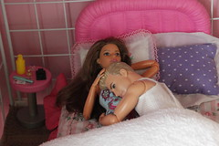 Exhausted (Tee-Ah-Nah) Tags: barbie doll ken madetomove made move pregnant bed laying sleeping resting exhausted couple