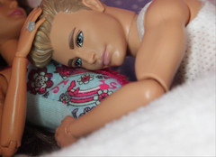 Hey there, baby. It's me, daddy. (Tee-Ah-Nah) Tags: barbie doll ken madetomove made baby move pregnant bed laying sleeping resting exhausted couple listening stomach tummy