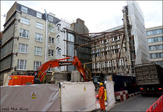 Creed Lane`Demolished (roll the dice) Tags: london site building streetfurniture architecture surreal vanished demolished urbanengland classic uk art rubble changes canon tourism tourists old flannery crane ec4 squaremile city stpauls windows ludgate digger shell carter curiocollection facade dominvsgroup mcaleerrushegroup creedcourt alley planning scaffolding offices