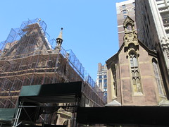 2019 Trinity Chapel Church Rebuilding after 2016 Fire 8576 (Brechtbug) Tags: 2019 trinity chapel complex church ruin from fire 05032016 may 3rd 2016 located flatiron district 15 west 25th street between broadway avenue americas 6th 05182019 constructed 185055 was designed by architect richard upjohn english gothic revival style gutted ruins nyc urban new york city manhattan later named serbian orthodox cathedral st sava saint bust nikola tesla stands outside