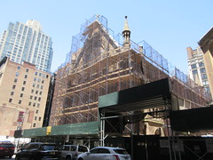2019 Trinity Chapel Church Rebuilding after 2016 Fire 8572 (Brechtbug) Tags: 2019 trinity chapel complex church ruin from fire 05032016 may 3rd 2016 located flatiron district 15 west 25th street between broadway avenue americas 6th 05182019 constructed 185055 was designed by architect richard upjohn english gothic revival style gutted ruins nyc urban new york city manhattan later named serbian orthodox cathedral st sava saint bust nikola tesla stands outside