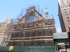 2019 Trinity Chapel Church Rebuilding after 2016 Fire 8570 (Brechtbug) Tags: 2019 trinity chapel complex church ruin from fire 05032016 may 3rd 2016 located flatiron district 15 west 25th street between broadway avenue americas 6th 05182019 constructed 185055 was designed by architect richard upjohn english gothic revival style gutted ruins nyc urban new york city manhattan later named serbian orthodox cathedral st sava saint bust nikola tesla stands outside