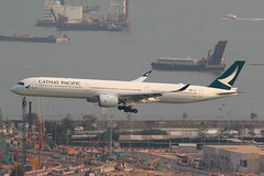 B-LXJ, A350-1000, Cathay Pacific, Hong Kong (ColinParker777) Tags: blxj airbus a350 35k a3501000 aircraft airliner aviation fly flying approach landing finals flight travel airplane plane cx cpa cathay pacific airways airlines air hkg vhhh hong kong chek lap kok airport international hksar china construction barge water sea harbour bay canon 5ds 5dsr 200400 l lens zoom telephoto pro