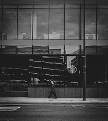 City walk #2 (castiglione89) Tags: xt1 fujifilm fuji europe ireland moment shoot white black monochrome architecture building mirror starbucks oldmen street streetphotography