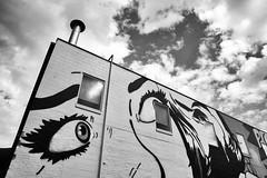 - Set 17 43/100 X (mfhiatt) Tags: img56250419 blackandwhite desmoines iowa publicart mural locuststreet eastonlocust workthescene lookingup 100xthe2019edition 100x2019 image43100