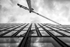 Europaallee 2 (LG_92) Tags: switzerland schweiz zürich architecture contemporary buildings 2019 may nikon dslr d3100 monochrome blackandwhite blackwhite bw crane reflection sky facade