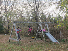 olivia sophia on swingset (Pictures by Ann) Tags: olivia sophia swinging swing swingset slide backyard fall autumn playing play