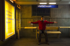 Eric in his bus stop stance (roboppy) Tags: norway oslo eric busstop publictransportation