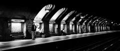 Tail Recursion (Sean Batten) Tags: london england unitedkingdom bakerst bakerstreet blackandwhite bw streetphotography street subway underground tube light shadow fuji fujifilm x100f platform vanishingpoint