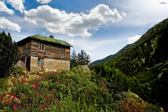 the house on the hill (dim.pagiantzas   photography) Tags: nature sky clouds summer landscape mountains light colors colorfull cottage house flowers plants trees green wood wooden rocks